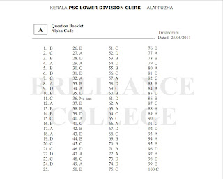 Kerala PSC Portal: Kerala PSC LDC Alappuzha Answer key and