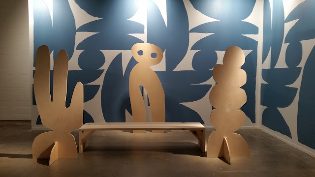 lasercut wood and wall painting installation
