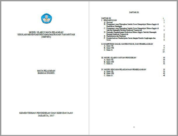 Silabus RPP Bahasa Inggris SMP MTs Kurikulum 2013 Kelas VII, VIII, IX
