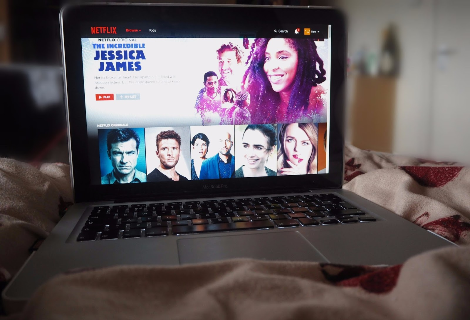 Laptop with Netflix on
