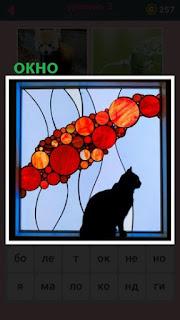 цветное окно и кошка сидит смотрит в него