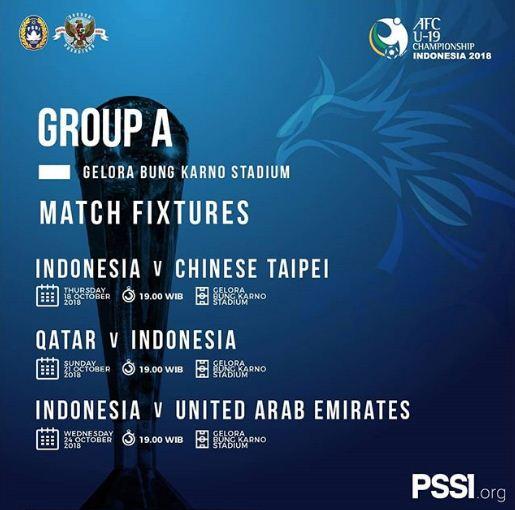 Jadwal Timnas Indonesia U-19 Piala AFC 2018 (Live RCTI)