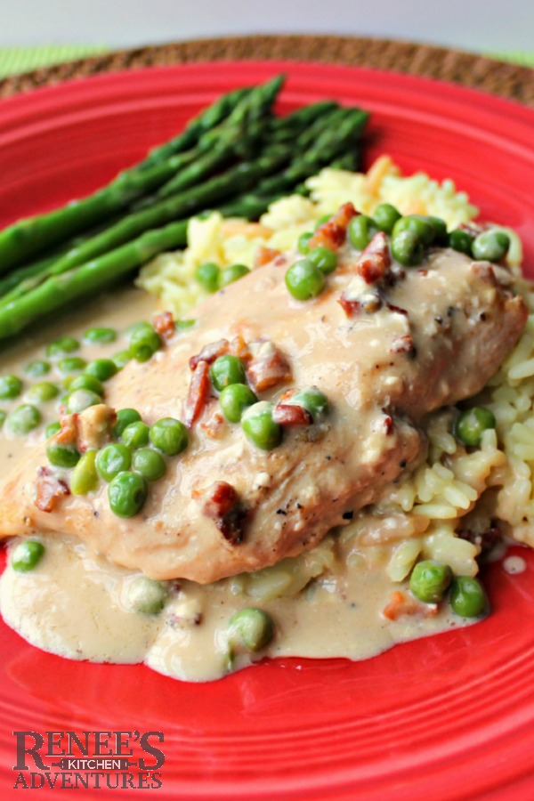 Chicken Breasts in Pancetta Cream with Peas - 11 Easy Chicken Recipes for National Chicken Month | Renee's Kitchen Adventures