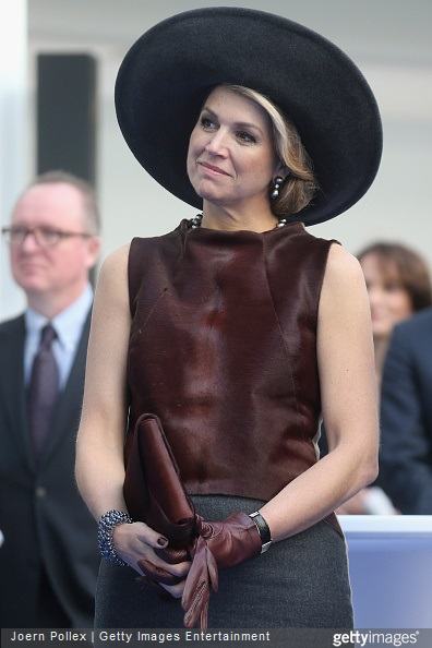 Queen Maxima of of the Netherlands is seen at the Draeger Medical GmbH during her state visit