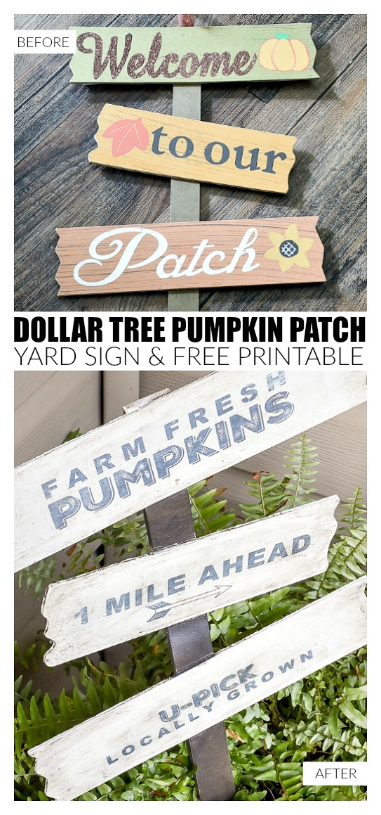 Dollar Tree pumpkin patch sign turned farmhouse decor