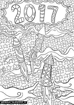 A coloring page of New Year 2017 / Värityskuva uudestavuodesta 2017