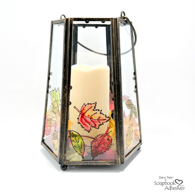 Colorful Hand-Painted Glass Lantern for Fall with Black Glue Leaves