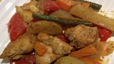 Pan fired chicken with assorted vegetables recipe