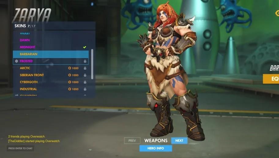 Zarya Barbarian Skins