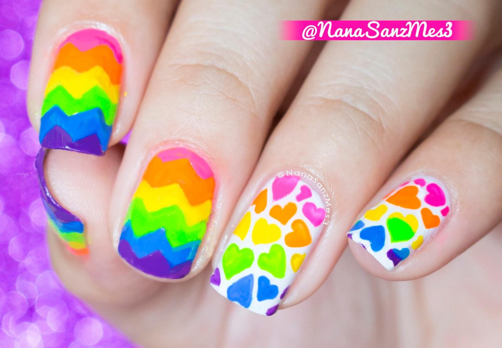Nanasanzmes3 Rainbow Hearts And Zigzag Nail Art