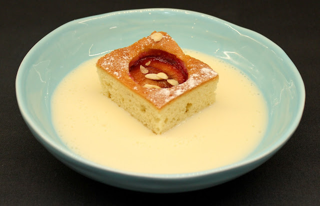 Plum Frangipane Cake with Custard