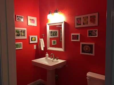 #millsnewhouse, powder room, photo collage, flower photos