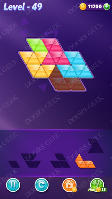 Block! Triangle Puzzle 5 Mania Level 49 Solution, Cheats, Walkthrough for Android, iPhone, iPad and iPod