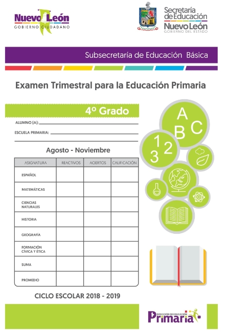 4to grado Examen Trimestral Primer Trimestre Primaria