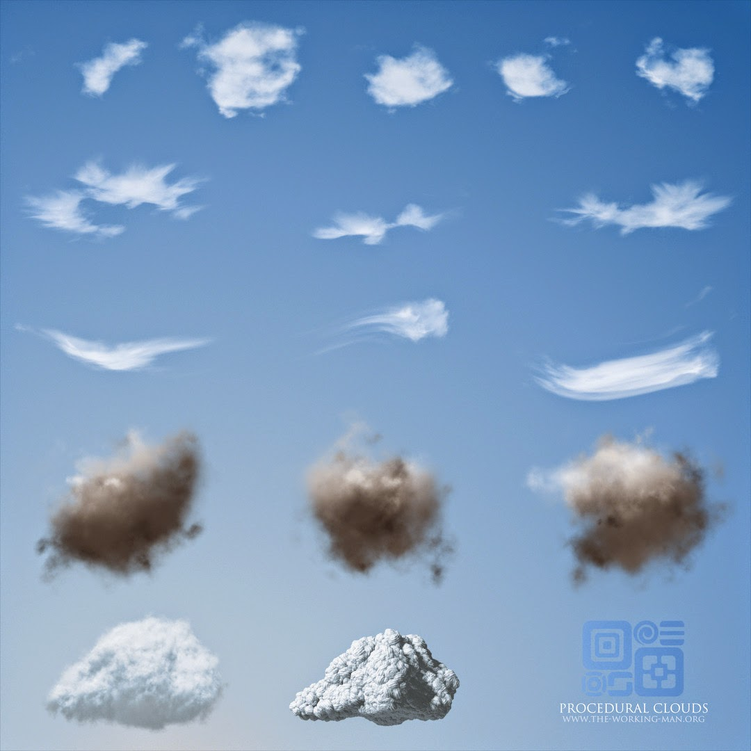 Sample outputs of self-made procedural clouds generators
