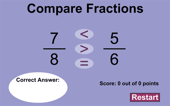 Game to compare fractions