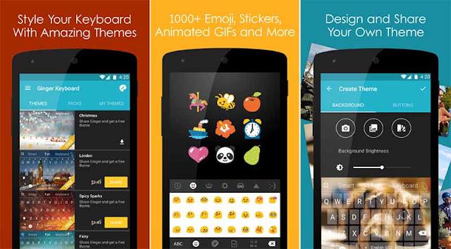 Ginger Keyboard - Aplikasi Keyboard Lengkap Dengan Emoji Lucu