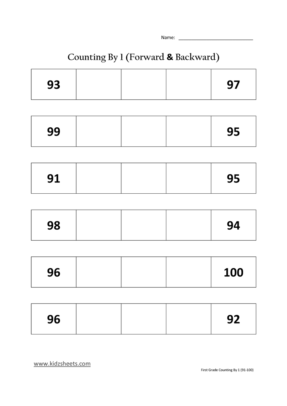 Kidz Worksheets First Grade Counting By 1 91 100