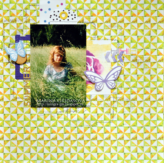 summer @akonitt #layout #lemonowl #glitteralphas #summerlayout #woodenbutton #scrapbooking #by_marina_gridasova #diecuts