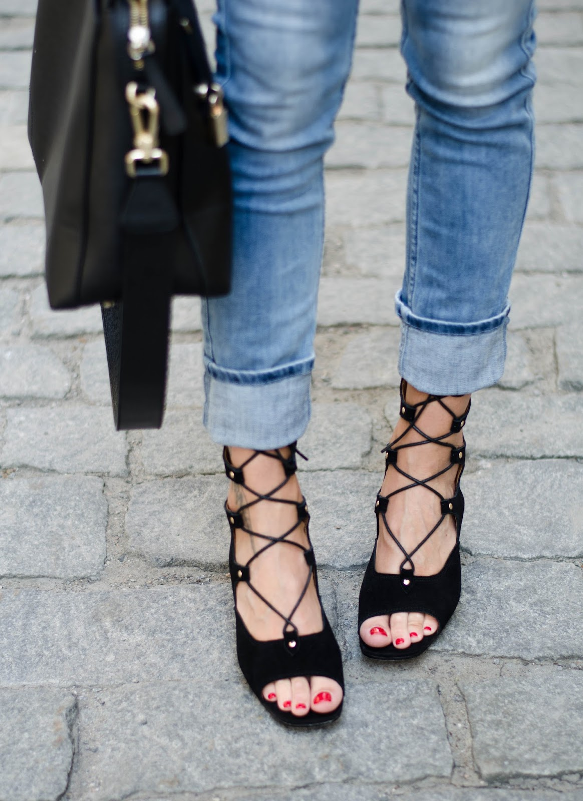 zaful black lace up open toe suede sandals