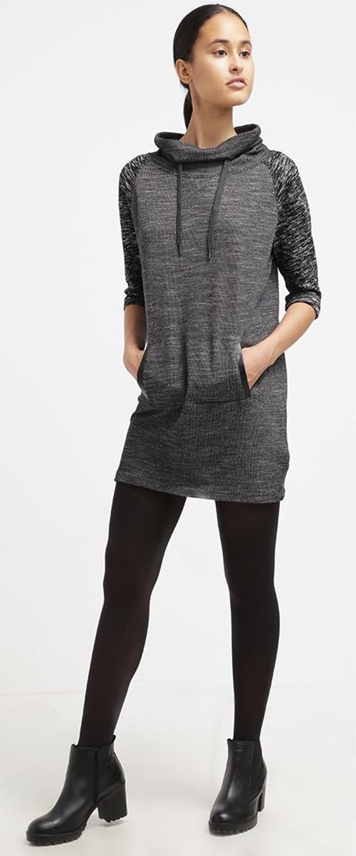 Robe courte pull Calvin Klein gris chiné