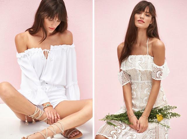 Девушки в белой блузке и белом платье
