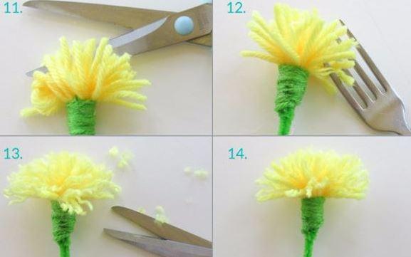Con un tenedor y estambre haz lindas flores haz manualidades - Manualidades en lana ...