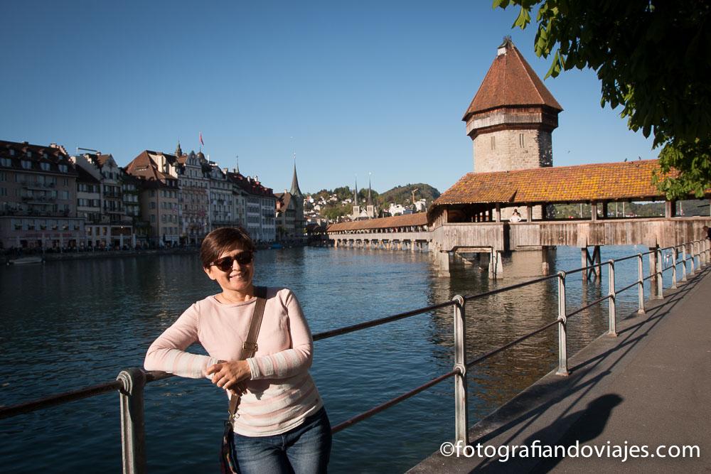 Puente de la capilla o Kapellbrucke en Lucerna