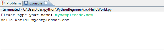 Hello World using Eclipse and PyDev