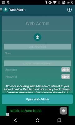Opciones de configuración de Papala Web Server