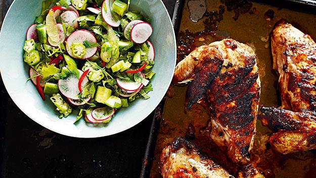 sea salt and freshly ground black pepper Lebanese chicken with radish salad recipe