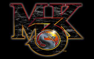 Logo de Mortal Kombat 3 (Arcade, Midway 1995). Letras M K, el número 3 en cuyo semicírculo inferior aparece inscrito el logo Mortal Kombat con forma de dragón