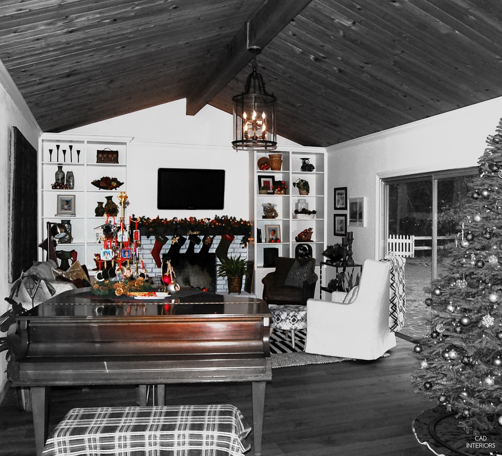 holiday family room classic Christmas decorations