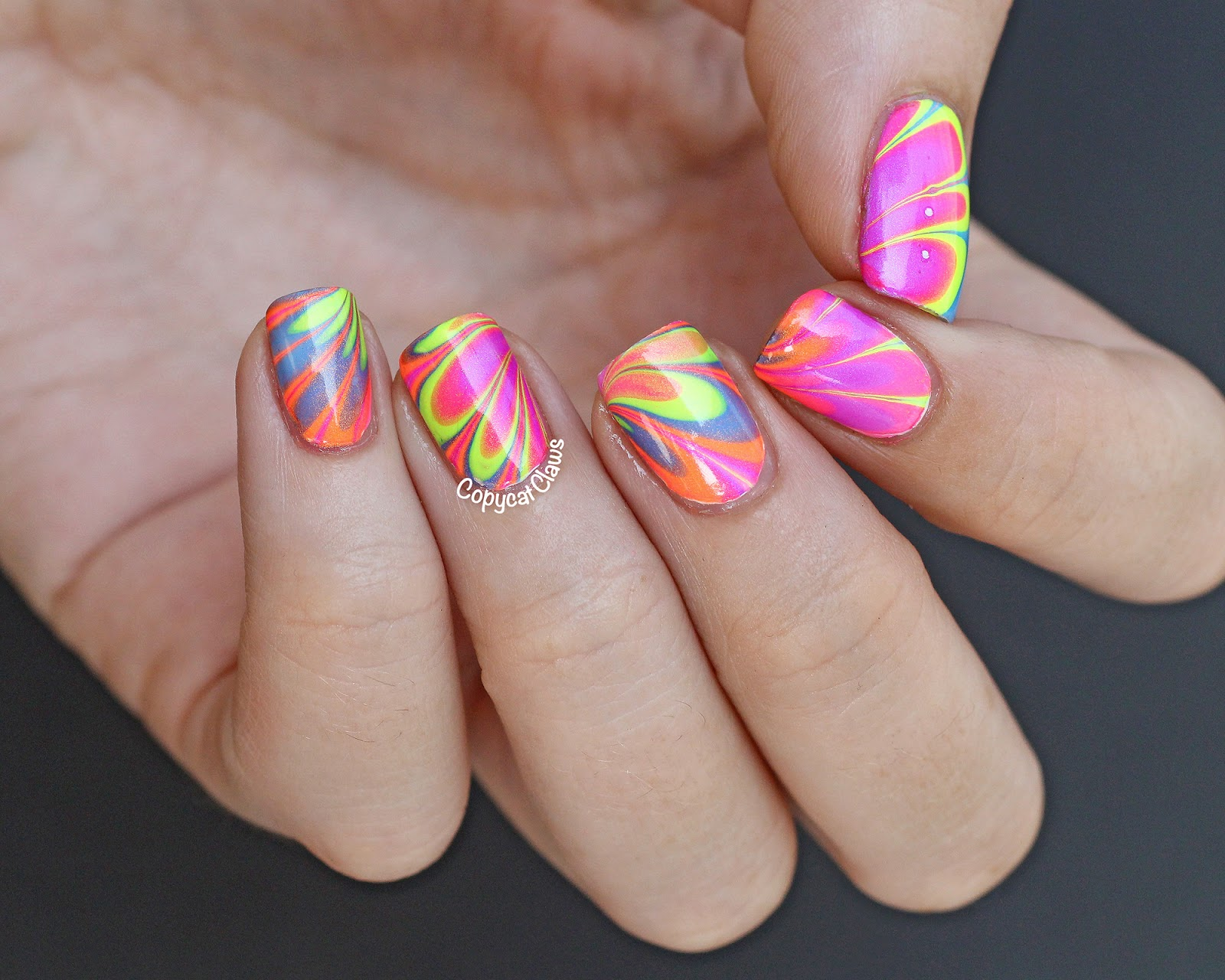 Copycat Claws: Color Club Poptastic Neon Water Marble Nail Art
