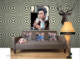 Cosmo Kramer drinking a milkshake hanging on a wall with a bored pig looking on.