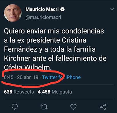 Mauricio Macri envió sus condolencias a Cristina, por la muerte de se madre, A LA UNA MENOS CUARTO DE LA MADRUGADA