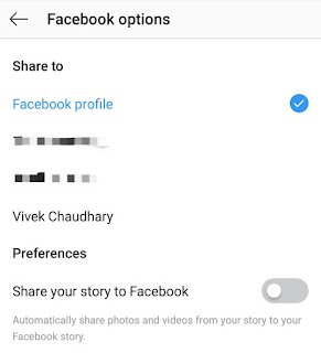 Choose Facebook profile or page
