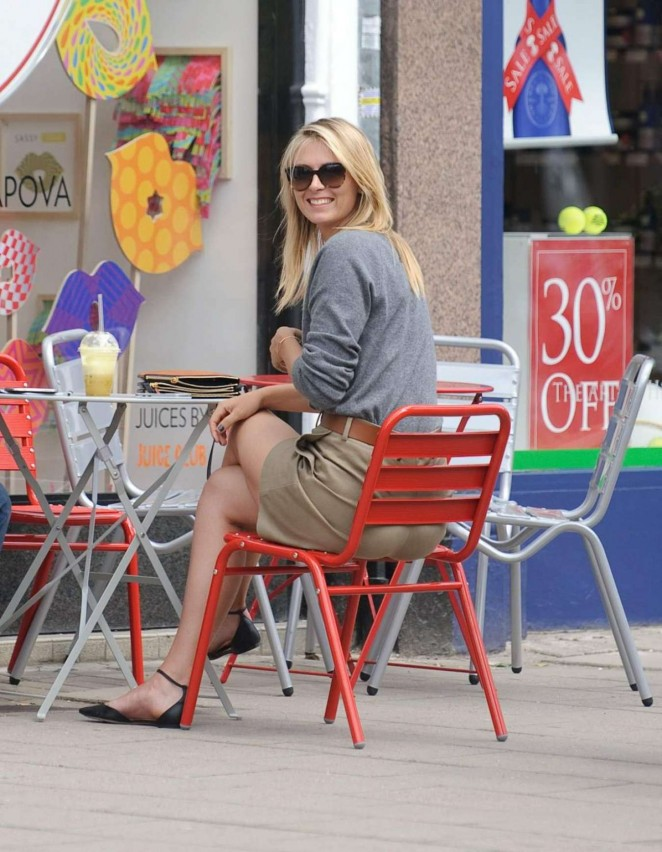 Maria Sharapova flaunts legs outside her Sugarpova store in Wimbledon Village
