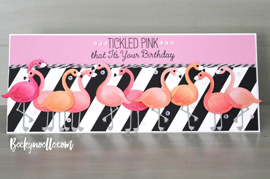 Laina Lamb Design Tickled Pink stamp set and Flamingos Die-namics - Becky Noelle #mftstamps