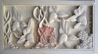 Relief batu alam jogja motif ikan dan pemandangan bawah laut