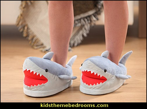 Shark Plush Slippers for Grown Ups    Shark Bedrooms - shark murals - shark bedding  - Shark Decor - shark wall decals - shark theme bedroom decorating ideas - surf shack bedrooms - nautical bedrooms - 3d shark wall decorations - surfing theme bedrooms