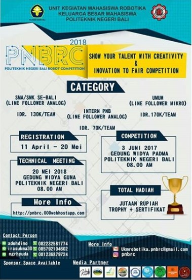 Lomba Politeknik Negeri Bali Robot Competition (PNBRC) 2018