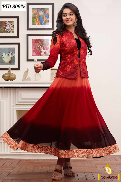 Bollywood Actress Rakul Preet Singh Designer Frock Style Anarkali Suits With Jacket Online Shopping