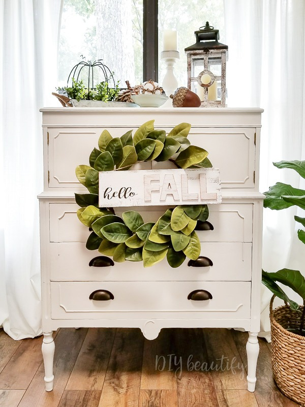 cottage dresser with fall decor