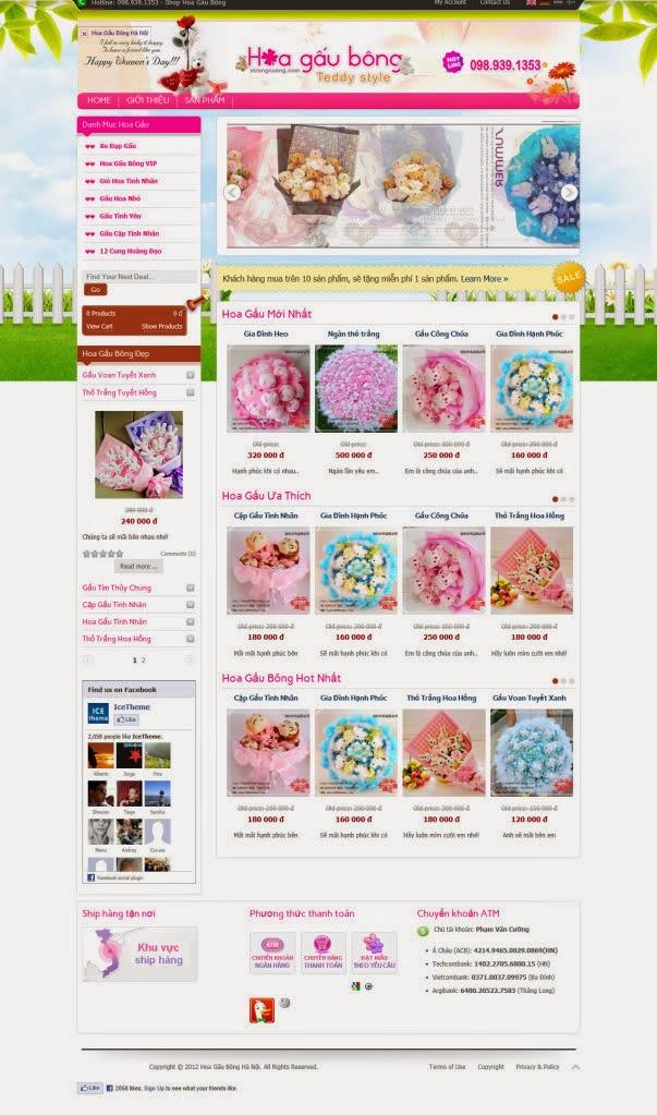 thiết kế website bán hàng gấu bông