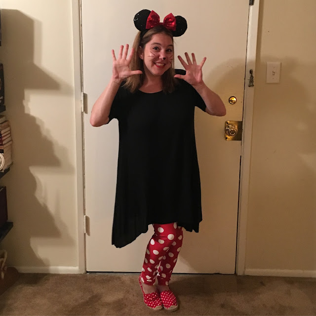 Jamie Allison Sanders, Halloween 2016, Minnie Mouse, Poprageous Minnie Mouse Leggings, Disneyland Sparkly Minnie Mouse ears, Brandy Melville cotton jersey dress, ASOS London Rebel Dot Espadrilles