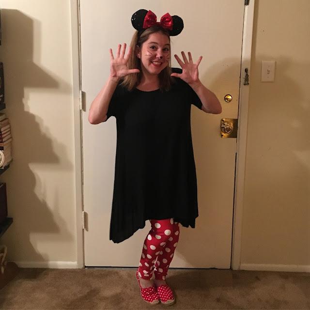 Jamie Allison Sanders, Halloween 2016, Minnie Mouse, Poprageous Minnie Mouse Leggings, Disneyland Sparkly Minnie Mouse ears, Brandy Melville cotton jersey dress, ASOS London Rebel Dot Espadrilles