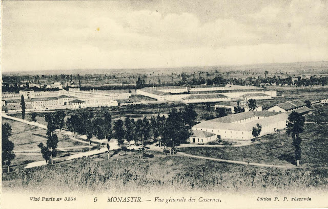 View toward the barracks in 1917 from Tumbe Cafe. Part of the roof of the Red Barrack no longer exist.
