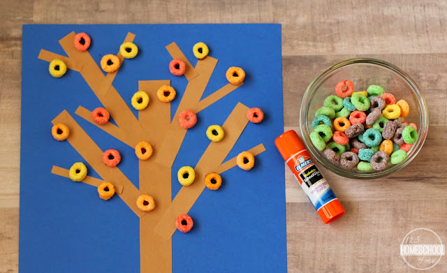 glue fruit loops cereal color by color onto fall tree; or you can use pom poms, circle stickers, do-a-dot makers, or little pieces of paper