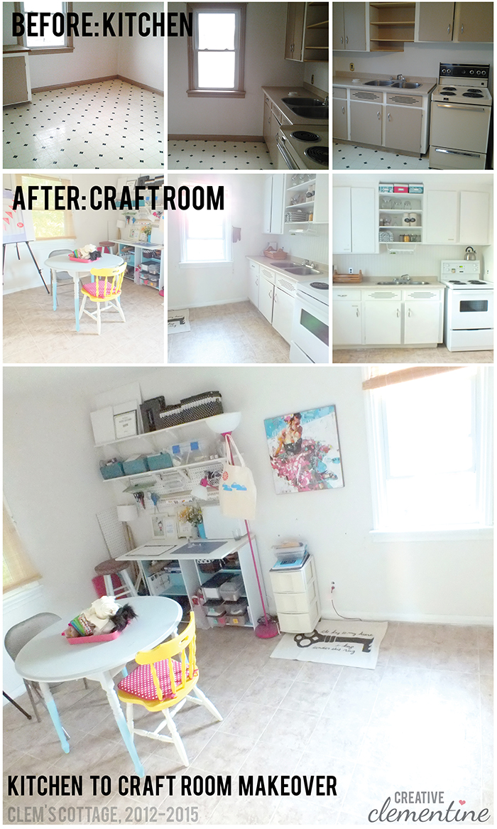 CreativeClementine.com: The before and after pictures of a Kitchen repurposed as a Craft Room!